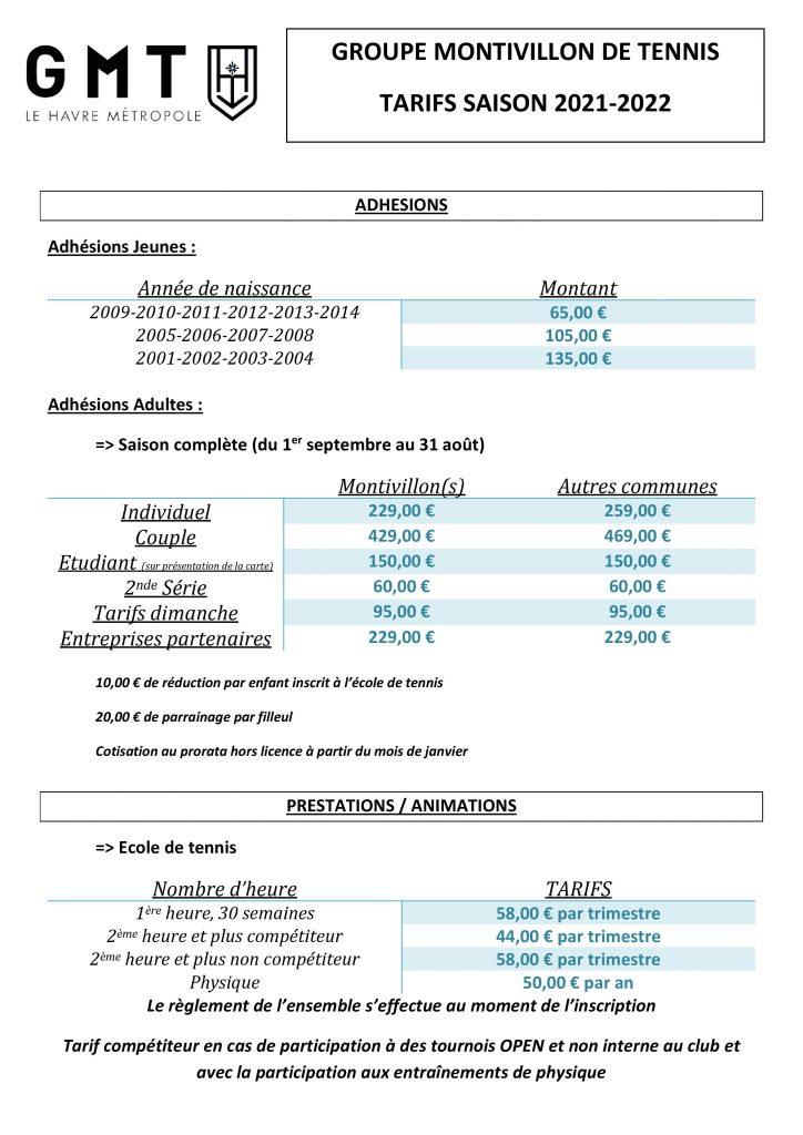 TARIF 2021-2022
