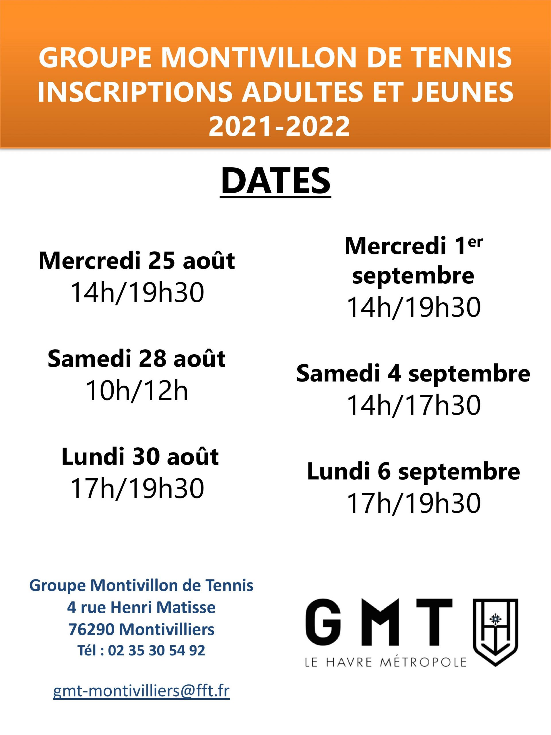 DATES INSCRIPTIONS 2021-2022